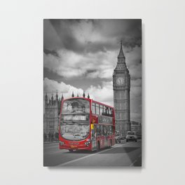 LONDON Houses of Parliament & Red Bus Metal Print