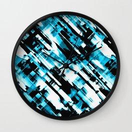 Hot blue and black digital art G253 Wall Clock