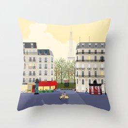 Paris Street Scene Art Print - Dawn Throw Pillow