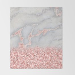 Sparkly Pink Rose Gold Glitter Ombre Bohemian Marble Throw Blanket