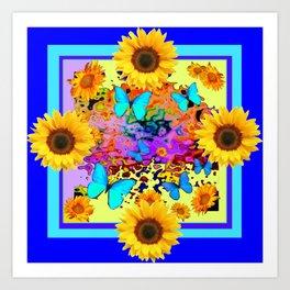 Blue Design Sunflower Butterflies Dream Art Print