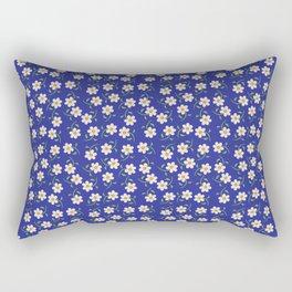 Daisies and Blue Pattern Rectangular Pillow