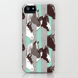 Waiting for the horse race // mint background iPhone Case