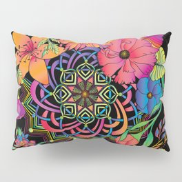 Neon Mandala and Flowers Pillow Sham