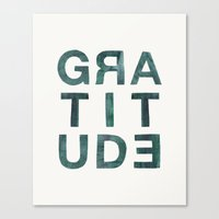 helvetica Canvas Prints featuring Helvetica Gratitude by Hey Tori!