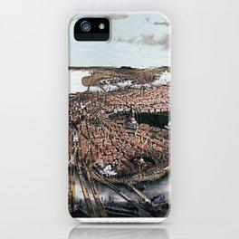 1877 Boston, Massachusetts Bird's Eye View Panorama City View iPhone Case