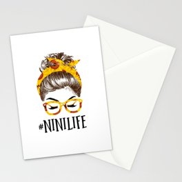 Messy Bun sunflowers Nini Life Mothers Day Funny Grandma Stationery Cards