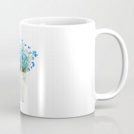 blue forget me not in a basket watwercolor Coffee Mug
