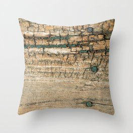 Rustic Wood Turquoise Paint Weathered and Aged to perfection Throw Pillow
