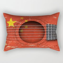Old Vintage Acoustic Guitar with Chinese Flag Rectangular Pillow
