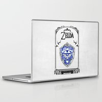 the legend of zelda Laptop & iPad Skins featuring Zelda legend - Hylian shield by Art & Be