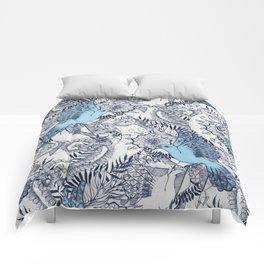 Flight of Fancy - navy, blue, grey Comforters