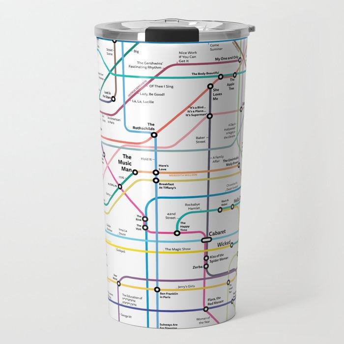 Broadway Subway Map.The Broadway Musical History Subway Map Travel Mug By Musicaltheatrehistory