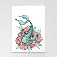 koi fish Stationery Cards featuring Koi Fish by Bare Wolfe