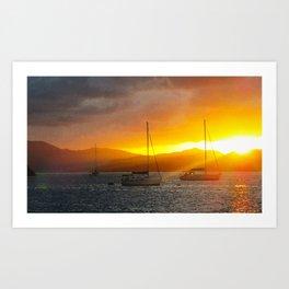 Norman Island Sunset - Sailboats at Sunset Art Print
