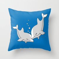 dolphins Throw Pillows featuring Dolphins by joanfriends
