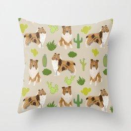 Rough Collie cactus pet portrait custom pet illustration dog breeds by pet friendly Throw Pillow