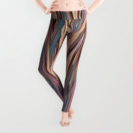 LYON pink peach turquoise brown glowing tall grass Leggings