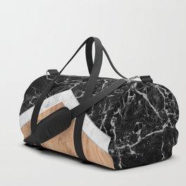 Arrows - Black Granite, White Marble & Wood #366 Duffle Bag