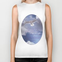 bible verses Biker Tanks featuring Seagull with Matthew 6:26-26 Verses by Photos and Images by Corri