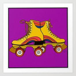 Retro Roller Skates Yellow Art Print