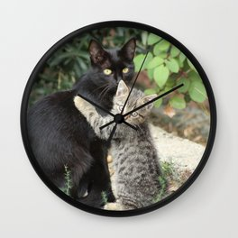 Mommy and me Kitten and Mother Cat Portrait Wall Clock