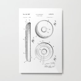 Frisbee: Edward E. Headrick Frisbee (Flying Saucer) Patent Metal Print