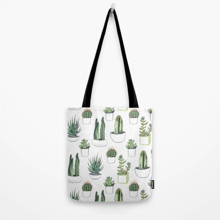 watercolour cacti and succulent Tote Bag