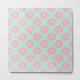 Pink Doodle Donuts Pattern on an aqua blue background Metal Print