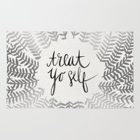 treat yo self Area & Throw Rugs featuring Treat Yo Self – Silver by Cat Coquillette