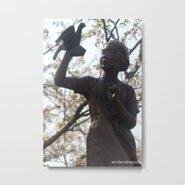 A Girl with a Bird - Nagasaki Peace Park Metal Print
