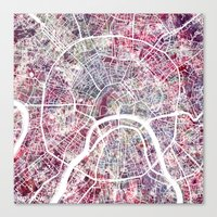 moscow Canvas Prints featuring Moscow by MapMapMaps.Watercolors