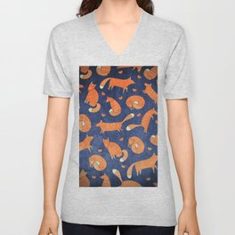 Foxes at Night - Cute Fox Pattern Unisex V-Neck