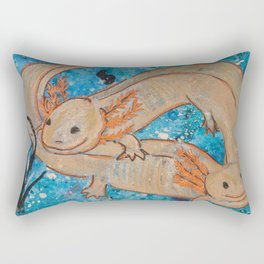 Axolotls  Mexican Salamander Walking Fish Rectangular Pillow