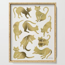 Cat Positions – Gold Palette Serving Tray