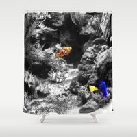 nemo Shower Curtains featuring Nemo and Dora by Efua Boakye