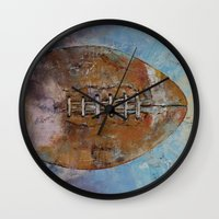 football Wall Clocks featuring Football by Michael Creese
