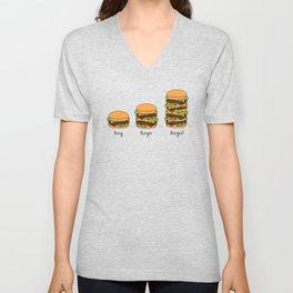 Burger explained. Burg. Burger. Burgest. Unisex V-Neck
