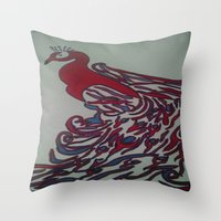 steelers Throw Pillows featuring Royal Blue and Red Abstract Peacock Painting by Melissa's Art