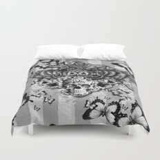 Lost and Found, floral owl with sugar skull Duvet Cover