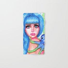 Mermaid with Blue Octopus Fantasy Art Illustration Hand & Bath Towel