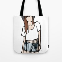coachella Tote Bags featuring Fringe Benefits Coachella Festival Girl by Highly Anticipated