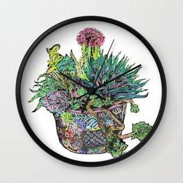 Neon Cacti and Succulents in Talavera Resist Wall Clock