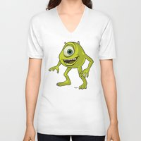 monsters inc V-neck T-shirts featuring Monsters, Inc. | Mike Wazowski by Brave Tiger Designs