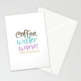 Coffee Water Wine Beer Stationery Cards