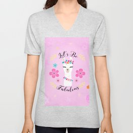 Let's Be Fabulous - Pink Cute Alpaca - Llama with Flowers Unisex V-Neck
