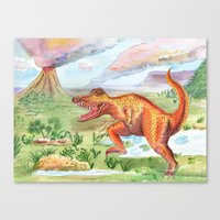 t rex Canvas Prints featuring T-Rex by Catherine Holcombe