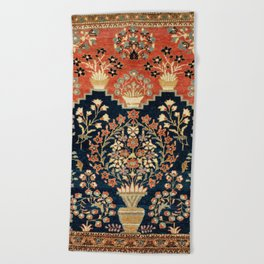 Kashan Poshti  Antique Central Persian Rug Print Beach Towel