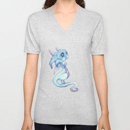 Blue Baby Dragon Unisex V-Neck