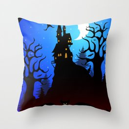 Dark Forest on Halloween Night Throw Pillow